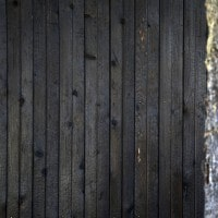 Deep Char Cedar Siding Juxtaposed Next To A Tree